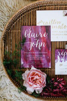 Bohemian wedding invitations Emily Wren Photography http://www.100layercake.com/wedding-inspiration/modern-bohemian-wedding-inspiration/