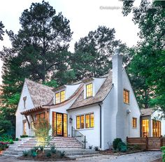 Swooping, curved roofline is right out of a fairytale.