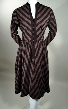 CLAIRE McCARDELL 1950'S VINTAGE DIAGONAL STRIPE SHIRT DRESS - BERGDORF-GOODMAN. Available at rpvintage.com