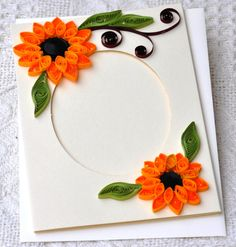 Paper Quilling Handmade Quilled card Blank card Photo frame fold card quilled sunflower