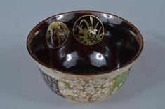 K8376-Japanese-Kiyomizu-ware-Gold-paint-Flower-pattern-TEA-BOWL-Green-tea-tool Tea Bowls, Gold Paint, Flower Patterns, Decorative Bowls, Japanese, Tableware, Flowers, Green, Painting
