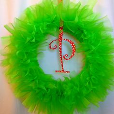 Wreath made while Ellie napped! Saw the idea on here last week. A trip to hobby lobby later and voila! My take on the tulle wreath for Christmas.