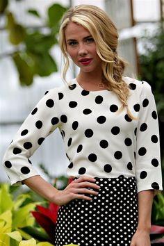 Trendy and Cute Polka Dot Top! White with Black Polka Dots/ Modest Top/ Trendy Modest Clothes/ Polka Dot Top #sierrabrookeclothing