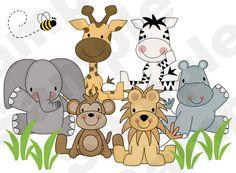 This is so cute! Jungle Zoo Animals Wall Art Mural Boy Girl Kids Room Decor