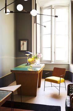 Modern lighting above desk in home office
