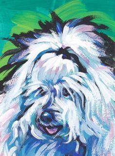 """Coton de Tuléar portrait art print of pop dog art painting bright colors 13x19"""" giclee print"""