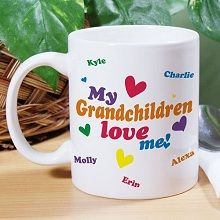 #GrandparentsDay Love Me Personalized Grandmother Coffee Mugs. Give your Grandma, Grandpa, Nana, Nonno, Mom or Dad the perfect personalized gift by creating a Personalized Coffee Mug featuring all their children or grandchildren. A lovely coffee mug perfect for early morning coffee or relaxing on the deck. Our Custom Printed Coffee Mug is dishwasher safe and holds 11 oz. Includes FREE Personalization.