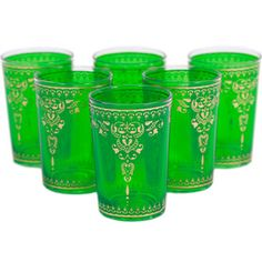 Yasmina Glass Green Set Of 6, $64, now featured on Fab.