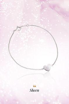 #Bracelet #Sheen #Handmade #NaturalGemstones #Diamonds #Gold #HeartCollection. Na známosť sa dáva diamantová správa – k nášmu briliantovému náhrdelníku Sheen pribudol ďalší srdiečkový člen – náramok Sheen, ktorého centrálnym vesmírom je jemný diamant briliantového výbrusu. Skvelou správou je, že sme tento skvost zhotovili vo všetkých farbách zlata, čím ulahodíme vkusu každej ženy. V akom prevedení by lákal najviac vás? Affair, Pearl Necklace, Pearls, Diamond, Stylish, Bracelets, Silver, Jewelry, Bangles