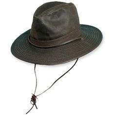 cf9ee9b6d81 Stetson Brown Safari Big Brim Hat With Leather Band ( 54) ❤ liked on  Polyvore