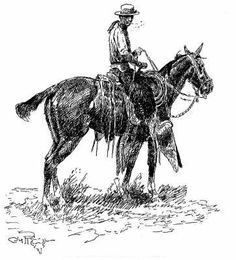 """In 1927 Charles M. Russell, the noted painter and interpreter of the West, commented about buckaroo's penchant for fancy gear: """"…usin' centerfire or single-cinch saddles, with high fork an' cantle; packed a sixty or sixty-five foot rawhide rope, an' swung a big loop. These cow people were generally strong on pretty, usin' plenty of hoss jewelry, silver-mounted spurs, bits, an' conchas."""