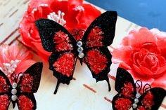 This listing is for 3 beautiful Cherry Crush Glitter Glass Butterflies They make…