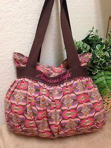 ae57d88da4a4 American Eagle Outfitters Pink Striped Canvas Hobo Shoulder Handbag Bag