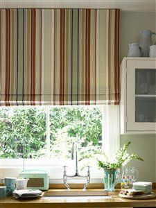 Kitchen Striped Roman Blind