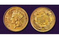 Gem Mint State 1864 Three Dollar Gold Piece