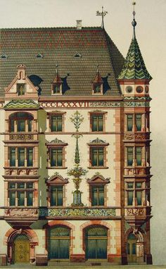 Circa 1890 lithograph of architectural details. Published by Ernst Wasmuth, Berlin. Unframed, some age toning, edge wear, and spots. Victorian Architecture, Classical Architecture, Historical Architecture, Beautiful Architecture, Beautiful Buildings, Contemporary Architecture, Architecture Details, Landscape Architecture, Landscape Design
