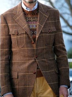 Shop this look for $174:  http://lookastic.com/men/looks/brown-crew-neck-sweater-and-blue-longsleeve-shirt-and-brown-blazer-and-tobacco-jeans/108  — Brown Fair Isle Crew-neck Sweater  — Blue Longsleeve Shirt  — Brown Plaid Blazer  — Tobacco Corduroy Jeans