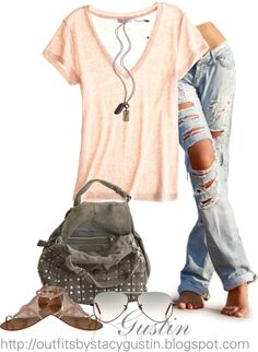 """""""peach top ripped jeans"""" by stacy-gustin"""