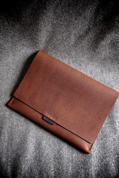 Handmade Leather iPad Clutch Folio Device Holder