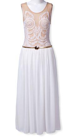 Vestido gasa bordado-Crudo EUR€28.99