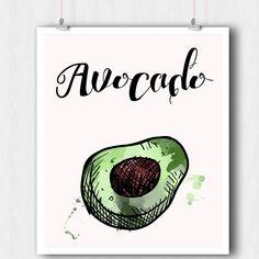 Kitchen Print - Vegetable Print - Avocado Watercolor Print - Printable Wall Art - 8 x 10 Minimalist Art - Wall Art - Instant Download, PDF by ratitaprints on Etsy