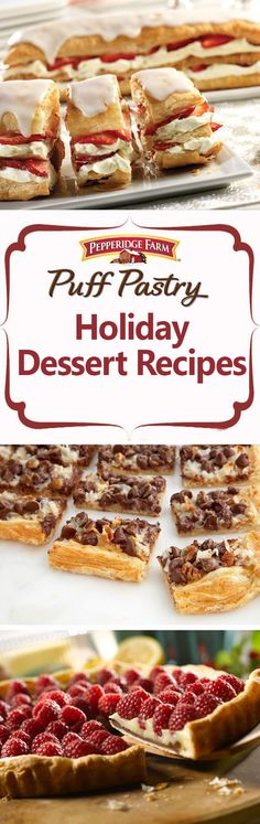 Bring a sweet treat to your next barbecue! Find all of our favorite dessert recipes here from Island Sticky Puffs to Lemon Blueberry Petite Napoleons. Simply top Puff Pastry with fruit and cream, bake a batch of out Holiday Desserts, Holiday Baking, Christmas Baking, Just Desserts, Holiday Recipes, Dessert Recipes, Holiday Appetizers, Party Appetizers, Christmas Recipes