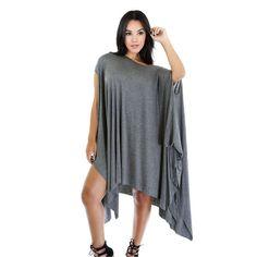 Fashion Casual Women Mini Dress Clubwear Sexy Grey/Dark Khaki Asymmetrical Draped Tunic Dress LC60670 Vestido Ropa Mujer