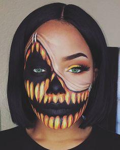 Maquillaje estilo calabaza para Halloween
