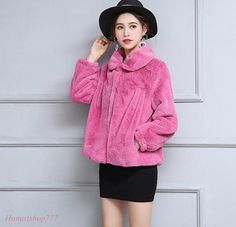Chic Women Fashion Faux Rabbit Fur Coats Jacket Winter Warm Short Parka Outwear