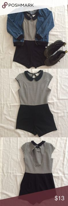 Black and White Striped Stretchy Romper Foxy little romper with the cutest Peter Pan collar ever :-) Pair up with some thick knee high socks or tights to stay toasty during winter! (The only problem is that one leg cuff came unstitched, but it can easily be fixed with either a safety pin or a few stitches!) Urban Outfitters Dresses