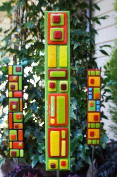 Garden Art - Green Yellow Red Orange Fused Glass Garden Stake, Home Decor, Outdoor Decor via Etsy