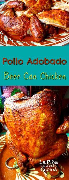 Beer Can Chicken(Pollo Adobado) #beercanchicken #polloadobado. Made in the OVEN