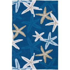 Kaleen Blue Starfish Handmade Matira Indoor/Outdoor Rug (2385 RSD) ❤ liked on Polyvore featuring home, rugs, starfish area rug, blue rug, hand made rugs, patterned area rugs and starfish rug