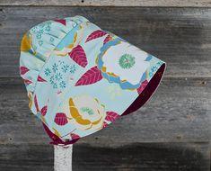 Garden Bonnet reversible baby bonnet sun bonnet modern Fabric Design, Pattern Design, Gorgeous Fabrics, Folded Up, Pretty Flowers, 6 Years, Shades Of Blue, Printed Cotton, Handmade Gifts
