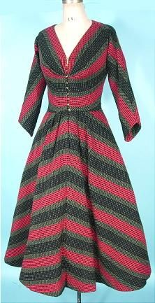 c. 1950's CLAIRE McCARDELL Clothes by Townley, Bettmann Fabric Striped Wool Jersey Knit Dress!