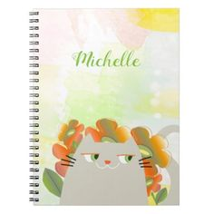 Cat Floral Bloom Spring Watercolor Blossom Boho Notebook - chic design idea diy elegant beautiful stylish modern exclusive trendy