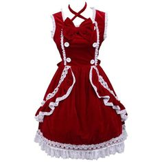 Partiss Women's Bow Ruffles Lace Halter Vintage Victorian Lolita Dress... ($55) ❤ liked on Polyvore featuring dresses, red vintage dress, red halter top, vintage dresses, victorian dress and lace dress