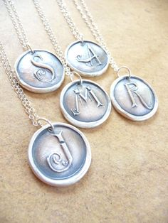 Wax seal initial monogram letter necklace pendant hand crafted from recycled fine silver in any letter of the alphabet. $45.00, via Etsy.