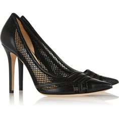 Jimmy Choo Hettie leather and mesh pumps (970 CAD) ❤ liked on Polyvore featuring shoes, pumps, heels, black pointed-toe pumps, black slip-on shoes, black heel pumps, jimmy choo pumps and black leather shoes
