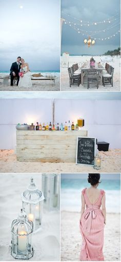 Lamps! Lighting! Chalkboard! Everything is going right for a Beach Wedding