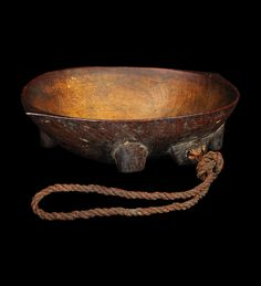 Kava Bowl, Yaqona. FIJI ISLANDS.  Carved hardwood, coconut fibre