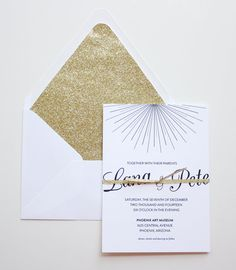 Starburst White and Gold Wedding Invitation and Reply Card (50 Count)
