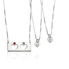 Treat yourself and your loved ones to a Sterling Silver Engraved Birthstone Bar Mother Daughter Necklace Set, engraved with your choice of birthstone. Order Now!