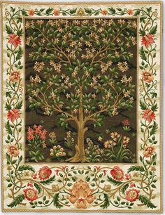 Tree Of Life Belgian Wall Tapestry, Woven in Belgium. European Wall Tapestries and Tapestry Hangings. Tree Of Life Belgian Tapestry, Woven in Belgium is a colorful motif. Looks beautiful on the wall for your classic wall decor. Tree Of Life Tapestry, Tree Of Life Art, Arts And Crafts Movement, William Morris, Tapestry Weaving, Tapestry Wall Hanging, Art And Craft Videos, Tapestry Design, Motif Floral