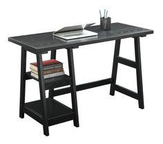 Convenience Concepts Trestle Desk, Black