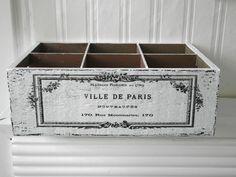 Shabby Vintage Holzkiste VILLE DE PARIS weiss von homestyle-accessoires via dawanda.com