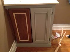 Updating Builder Grade Cabinets to look Custom with Moulding and Paint      Before:  with new baseboard moulding and trim   moulding  add...