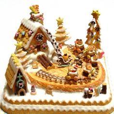 作品紹介 ミニチュア クリスマス お菓子の家 クッキートレイン ★ お知らせ - * Miniature Sen Hana * ミニチュアフード&小物