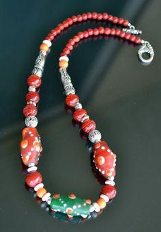 Vidrio de Checa Vintage Tribal murano collar collar por LKArtChic