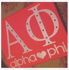 Alpha Phi sorority Canvas + Rhinestones.